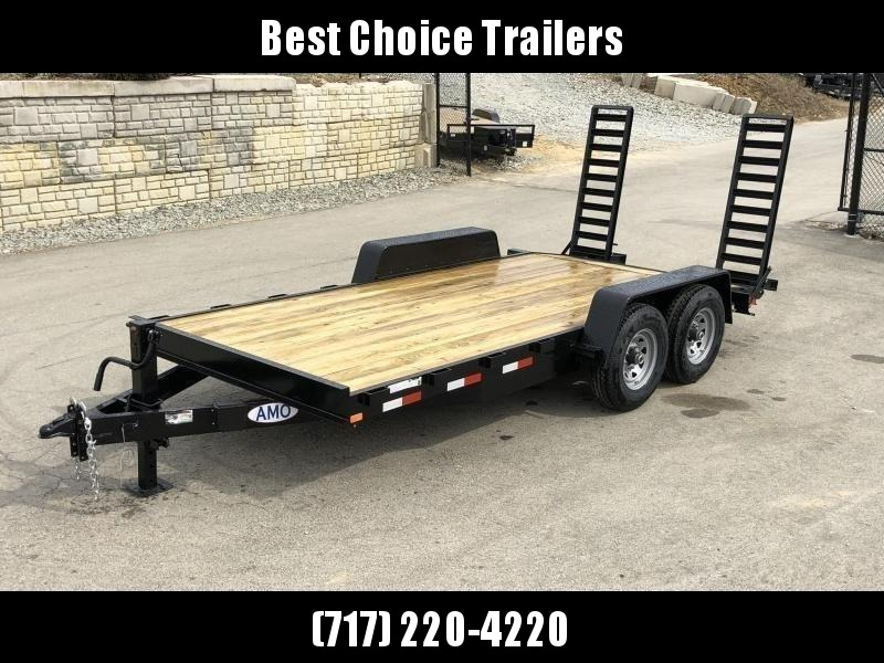 """2020 AMO 7x16' Equipment Trailer 12000# GVW * ALL LED LIGHTS * STAND UP RAMPS * BEAVERTAIL * STACKED 6"""" CHANNEL TONGUE/FRAME * 12K DROP LEG JACK * REMOVABLE FENDERS"""