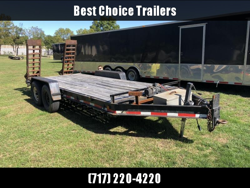 USED Carolina 7x18' Equipment Trailer 14000# GVW * WINCH * TOOLBOX * SPARE MOUNT * NEWER RAMPS * OAK DECK