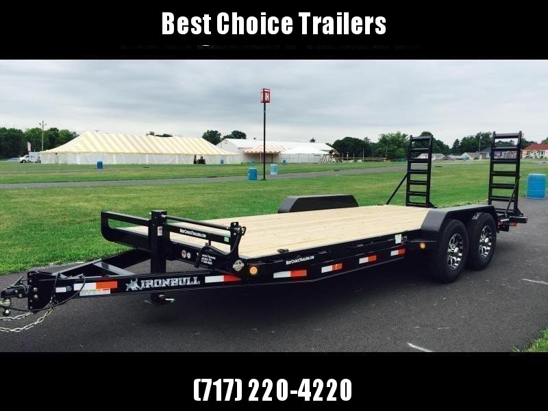 """2019 Ironbull 7x20' Equipment Trailer 14000# GVW * KNIFEEDGE RAMP W/ ADJUSTABLE SUPPORT * REMOVABLE FENDERS * 16"""" O.C. STRUCTURAL CHANNEL C/M * RUBRAIL/STAKE POCKETS/PIPE SPOOLS/D-RINGS * ADJUSTABLE CAST COUPLER * 12K JACK * CLEARANCE"""
