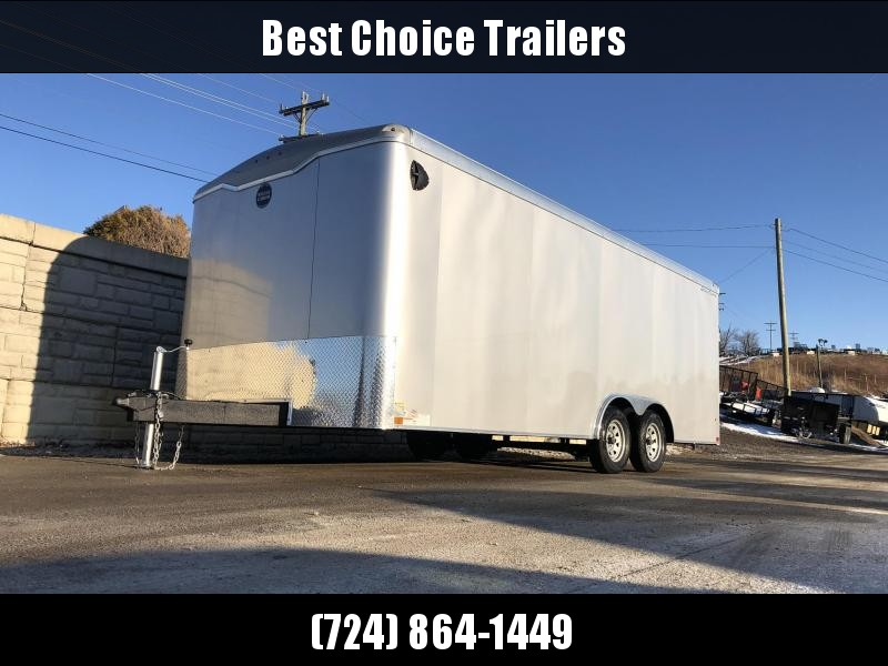 """2020 Wells Cargo 8.5x20' Road Force Enclosed Car Trailer 12000# GVW * WHITE EXTERIOR * 7' HEIGHT UPG * RAMP DOOR * ROUND TOP * SCREWLESS .030 EXTERIOR * TUBE STUDS * 1 PC ROOF * 16"""" O.C. WALLS/FLOOR * RV DOOR * ARMOR GUARD * 12"""" EXTENDED TRIPLE TONGUE"""