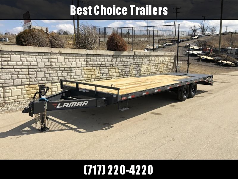 "2020 Lamar 102x24' Beavertail Deckover Trailer 14000# GVW * FULL WIDTH (FLIPOVER OR STAND UP) RAMPS + SPRING ASSIST  * CHARCOAL * TOOL TRAY * HD COUPLER * I-BEAM FRAME * 16"" O.C. C/M * RUBRAIL/STAKE POCKETS/PIPE SPOOLS * CHANNEL SIDE RAIL * 4X8"" TUBE BUMP"