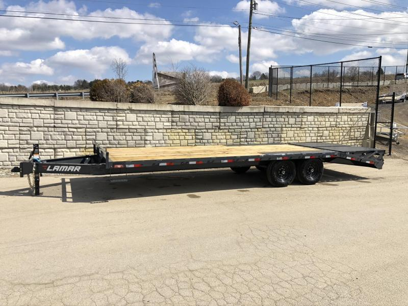"""2020 Lamar 102x24' Beavertail Deckover Trailer 14000# GVW * FULL WIDTH (FLIPOVER OR STAND UP) RAMPS + SPRING ASSIST  * CHARCOAL * TOOL TRAY * HD COUPLER * I-BEAM FRAME * 16"""" O.C. C/M * RUBRAIL/STAKE POCKETS/PIPE SPOOLS * CHANNEL SIDE RAIL * 4X8"""" TUBE BUMP"""