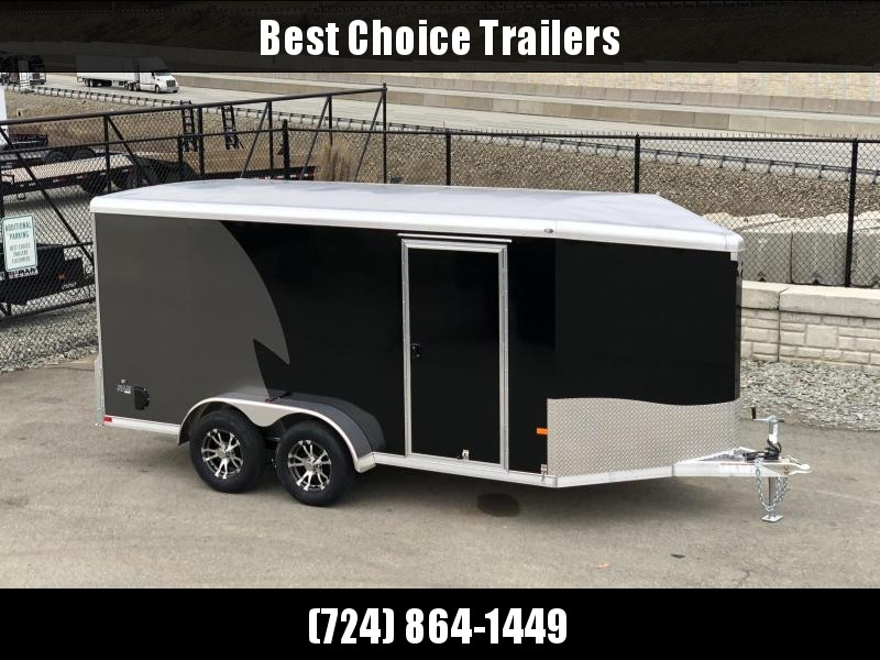 "2020 NEO Trailers 7x14' NAMR Aluminum Enclosed Motorcycle Trailer * BLACK+CHARCOAL * VINYL WALLS * ALUMINUM WHEELS * +6"" HEIGHT * NUDO FLOOR+RAMP * CABINET * 2-TONE * INTEGRATED FRAME * TIE DOWN SYSTEM"