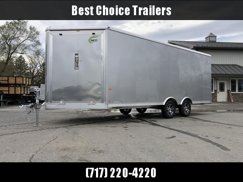 2019 NEO Aluminum 8.5x20' 7000# Multi-Sport/Enclosed Car Trailer NMS2085 * FRONT RAMP * WHITE VINYL WALLS * ALUMINUM WHEELS * SILVER EXTERIOR * UTV HAULER
