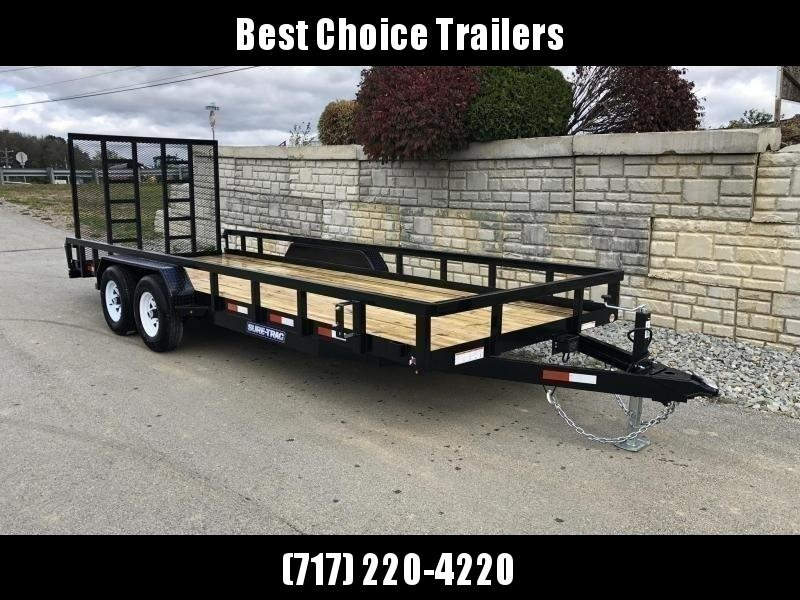 "2020 Sure-Trac 7x18 Tube Top Utility Landscape Trailer 9900# GVW * PROFESSIONAL LANDSCAPE SERIES * HD REINFORCED GATE+SPRING ASSIST * 5"" TONGUE & FRAME * 7K JACK * 2X3"" TUBE TOP RAIL * SPARE MOUNT * PROTECTED WIRING * TRIPLE TONGUE * STAKE POCKETS * BULLE"