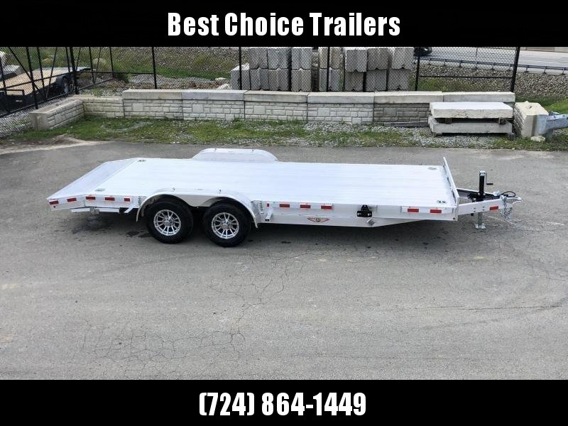 "2020 H&H 7x20' Deluxe Aluminum Car Hauler Trailer 9990# GVW * EXTRUDED ALUMINUM FLOOR * TORSION AXLES * SWIVEL D-RINGS * EXTRA STAKE POCKETS * HEAVY DUTY 8"" FRAME * DROP LEG JACK * ALUMINUM WHEELS * REMOVABLE FENDERS * CHANNEL C/M"