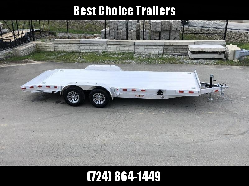 "2020 H and H 7x20' Deluxe Aluminum Car Hauler Trailer 9990# GVW * EXTRUDED ALUMINUM FLOOR * TORSION AXLES * SWIVEL D-RINGS * EXTRA STAKE POCKETS * HEAVY DUTY 8"" FRAME * DROP LEG JACK * ALUMINUM WHEELS * REMOVABLE FENDERS * CHANNEL C/M"