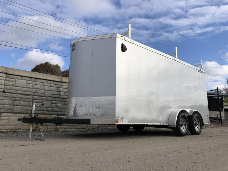 "2020 Wells Cargo 7x16' Road Force Enclosed Contractor Trailer 7000# GVW * SILVER * CONTRACTOR PACKAGE * 3 LADDER RACKS * 3/4"" WALLS * .030 * 1 PC ALUM ROOF * 6'6"" HEIGHT * TUBE STUDS * SCREWLESS * ARMOR GUARD"