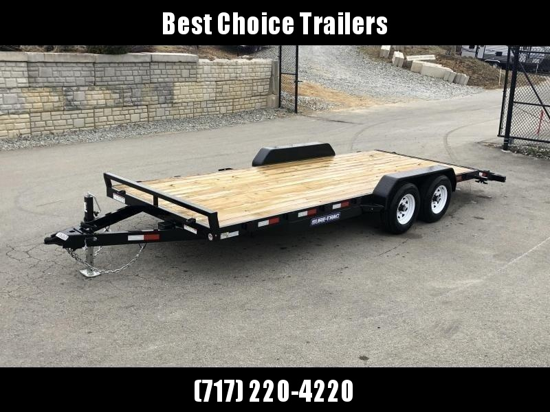 2020 Sure-Trac 7x20 Wood Deck Car Hauler 9900# GVW * REAR SLIDE OUT PUNCH PLATE FINGERJOINTED RAMPS * DIAMOND PLATE FENDERS * SEALED WIRING HARNESS * 7K JACK * STAKE POCKETS/D-RINGS * DIAMOND PLATE DOVETAIL