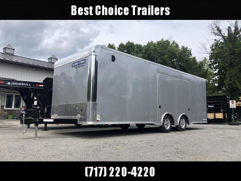 2020 Sure Trac 8.5x24' Racing Pro Enclosed Car Hauler Trailer 9900# GVW * LOADED * FULL ESCAPE HATCH * SILVER * NUDO * VINYL WALLS/CEILING * CABINETS * TORSION * BULLNOSE