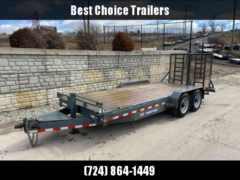 """USED 2016 Sure-Trac 7x18' Equipment Trailer 16000# GVW * 8000# AXLES * 17.5"""" RUBBER * TOOLBOX * CHARCOAL * FULL WIDTH HD SPLIT GATE"""