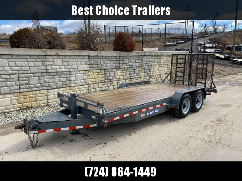 "USED 2016 Sure-Trac 7x18' Equipment Trailer 16000# GVW * 8000# AXLES * 17.5"" RUBBER * TOOLBOX * CHARCOAL * FULL WIDTH HD SPLIT GATE"