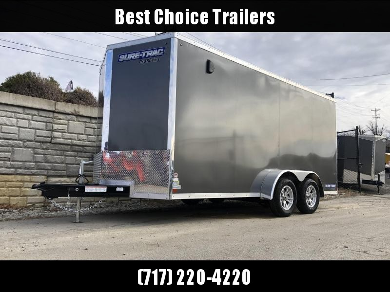 """2019 Sure-Trac 7x14' Enclosed Cargo Trailer 7000# GVW * CHARCOAL * SCREWLESS * ALUM WHEELS * 1PC ROOF * 6'6"""" H * 6"""" FRAME * CLEARANCE"""