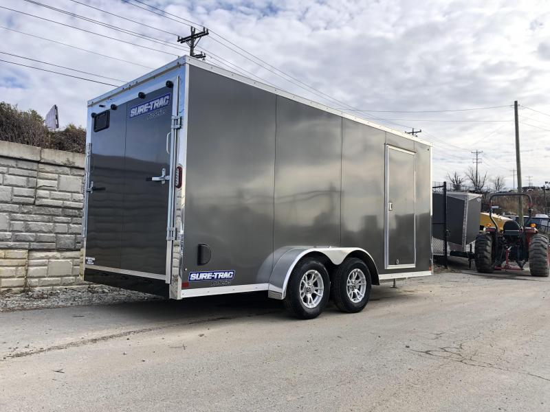"2019 Sure-Trac 7x14' Enclosed Cargo Trailer 7000# GVW * CHARCOAL * SCREWLESS * ALUM WHEELS * 1PC ROOF * 6'6"" H * 6"" FRAME * CLEARANCE"