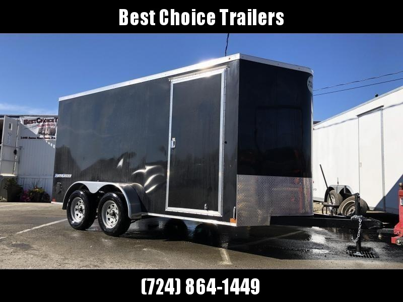 "2020 Wells Cargo 7x14' Road Force Enclosed Cargo Trailer 7000# GVW * BLACK EXTERIOR * 7' HEIGHT UPG * RAMP DOOR * V-NOSE * SCREWLESS .030 EXTERIOR * TUBE STUDS * 1 PC ROOF * 16"" O.C. WALLS/FLOOR * RV DOOR * ARMOR GUARD * BULLET LED'S"
