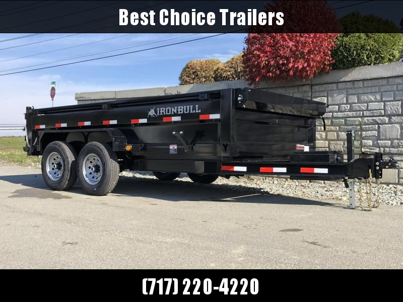 "2019 Ironbull 7x14' SUPER LOW Dump Trailer 14000# GVW RAMPS * DROP AXLES * RAMPS * TARP * SCISSOR * SPARE MOUNT * STACKED I-BEAM FRAME * 6"" BEDFRAME * 2PC 10GA BED & WALLS"