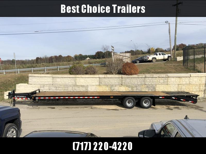2020 Ironbull 102x29+5' Pintle Beavertail Flatbed Deckover 25990# GVW * 12000# DEXTER'S * FULL WIDTH RAMPAGE RAMPS * PIERCED FRAME * UNDER FRAME BRIDGE * DUAL JACKS * MUD FLAPS * SPARE & MOUNT