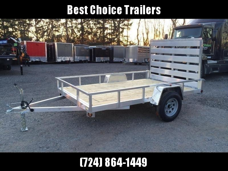 "2020 QSA 5x10' Aluminum Utility Landscape Trailer 2990# GVW * STANDARD MODEL * TUBE FRAME AND TONGUE * SPARE MOUNT * TIE DOWNS * 4' FOLD IN GATE * LED'S * FENDER GUSSETS * 3500# AXLE * 15"" TIRES * TUBE TOP RAIL"