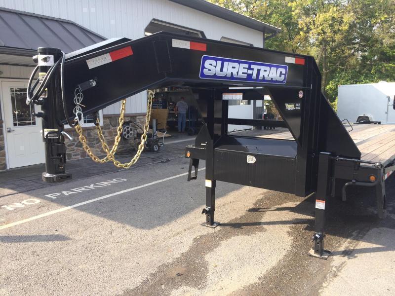 USED 2019 Sure-Trac 102x27+5 22K Gooseneck Beavertail Deckover Trailer * PIERCED FRAME * FULL WIDTH RAMPS