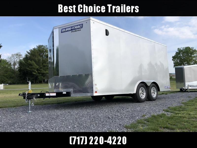 USED 2018 Sure Trac 8.5x16' Enclosed Cargo Trailer 7000# GVW * SILVER * SHELF * ON-BOARD DEEP CYCLE BATTERY
