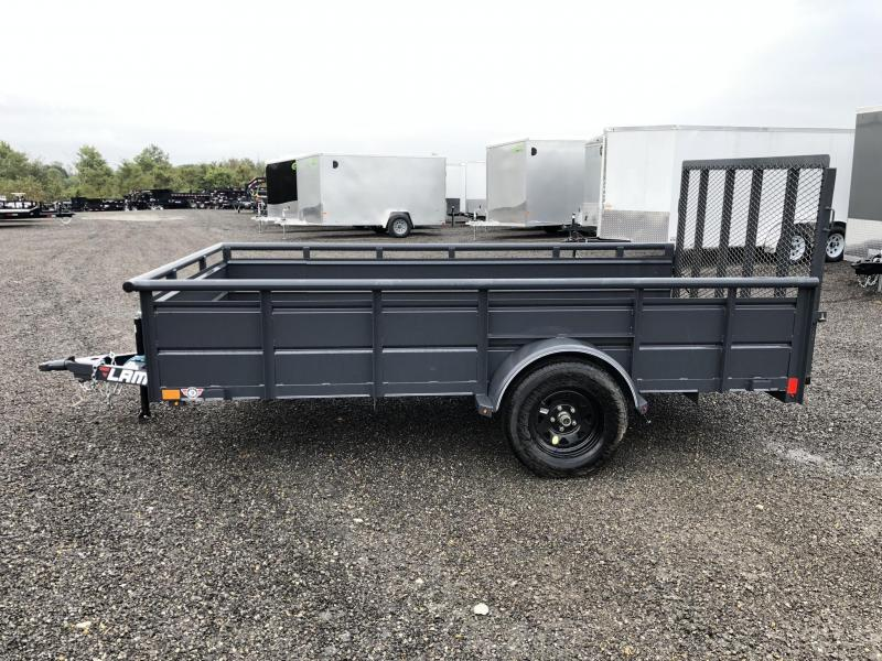 "2019 Lamar 77""x12' Steel High Side Utility Trailer 2990# GVW * PIPE TOP * 2' SOLID SIDES * DROP LEG JACK * CAST COUPLER * CHARCOAL * TUBE GATE * CLEARANCE"