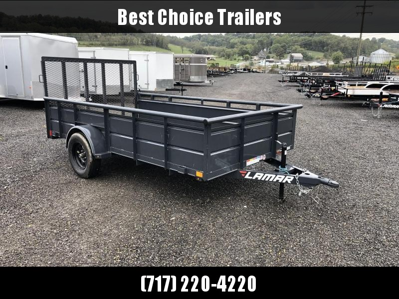 """2019 Lamar 77""""x12' Steel High Side Utility Trailer 2990# GVW * PIPE TOP * 2' SOLID SIDES * DROP LEG JACK * CAST COUPLER * CHARCOAL * TUBE GATE * CLEARANCE"""