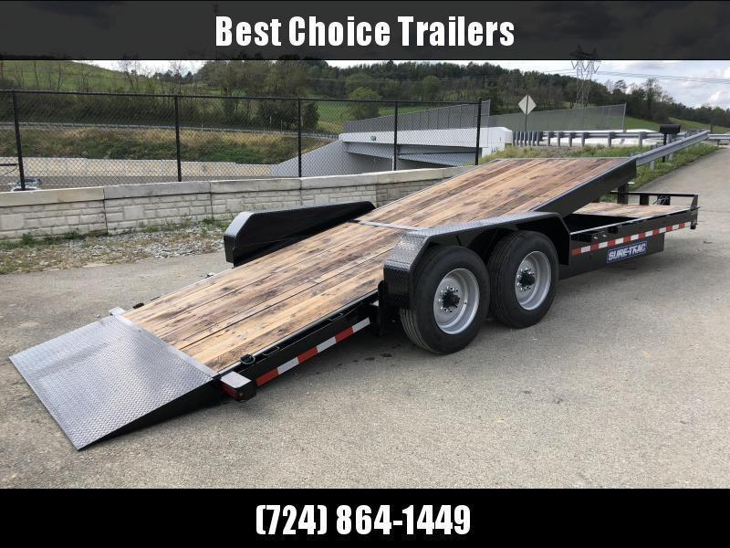 "2020 Sure Trac Gravity Tilt Equipment Trailer 7'X18+4' 16000# * 8"" TONGUE/FRAME * HD NOSEPLATE COUPLER * 12K JACK"