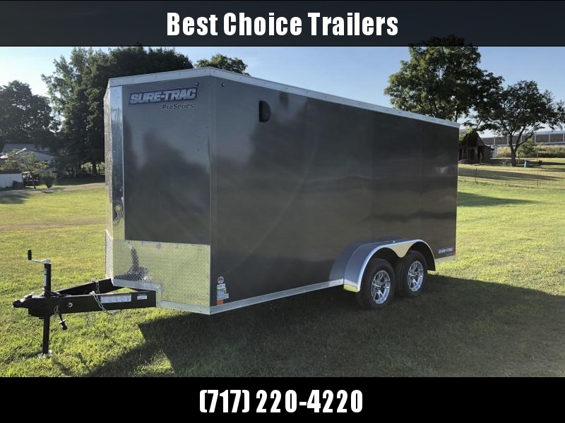 "2019 Sure-Trac 7x16' Enclosed Cargo Trailer 7000# GVW * CHARCOAL * SCREWLESS * ALUM WHEELS * 1PC ROOF * 6'6"" H * 6"" FRAME"