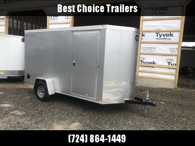 """2020 Wells Cargo 6x12' Road Force Enclosed Cargo Trailer 2990# GVW * SILVER EXTERIOR * RAMP DOOR * V-NOSE * SCREWLESS .030 EXTERIOR * 6'6"""" HEIGHT * TUBE STUDS * 1 PC ROOF * 16"""" O.C. C/M * ARMOR GUARD * RV DOOR * BULLET LED'S"""