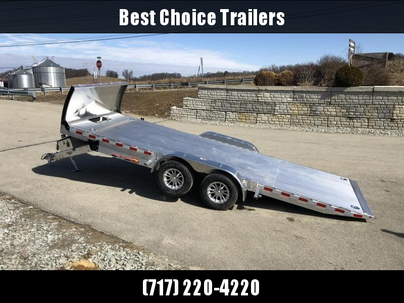 "2020 H&H 7x20' DELUXE Aluminum Power Tilt Car Hauler Trailer 9990# GVW * ROCK GUARD * DUAL TOOLBOXES * EXTRUDED FLOOR * SWIVEL D-RINGS * WIRELESS REMOTE * 8"" CHANNEL FRAME * REMOVABLE FENDERS * ALUMINUM WHEELS"