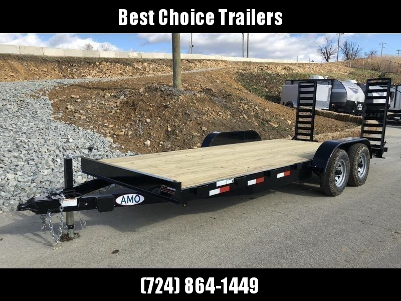 "2020 AMO 7x18' Equipment Trailer 9990# GVW * ALL LED LIGHTS * STAND UP RAMPS * BEAVERTAIL * STACKED 5"" CHANNEL TONGUE/FRAME * DROP LEG JACK * REMOVABLE FENDERS"