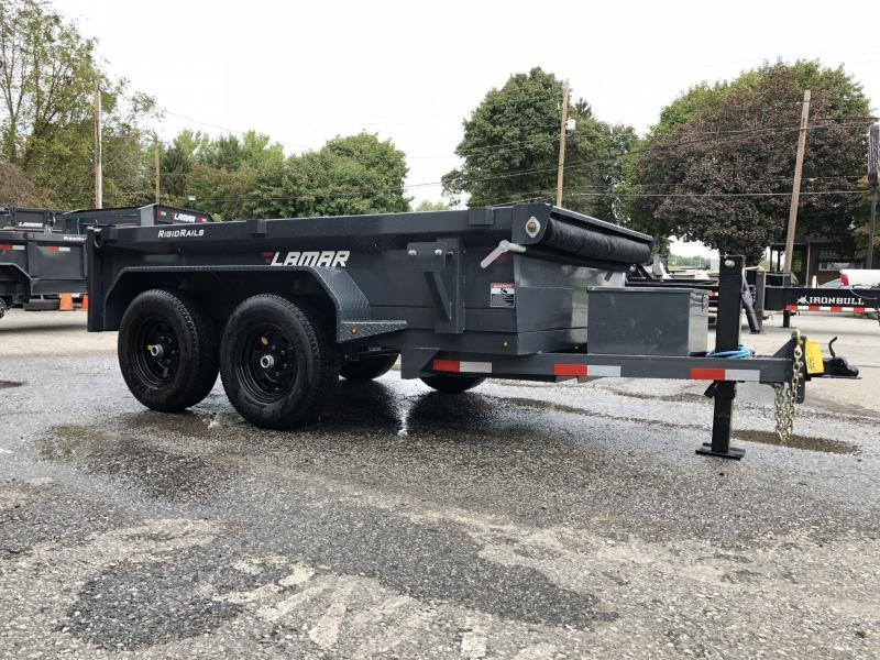 "2020 Lamar 5x10' Dump Trailer 9990# GVW * 5200# AXLES * DELUXE TARP KIT * 12K JACK UPGRADE * UNDERMOUNT RAMPS * CHARCOAL * ADJUSTABLE COUPLER * RIGID RAILS * 110V CHARGER * DOUBLE CHANNEL FRAME * 10GA FLOOR * 4"" CHANNEL BED FRAME"