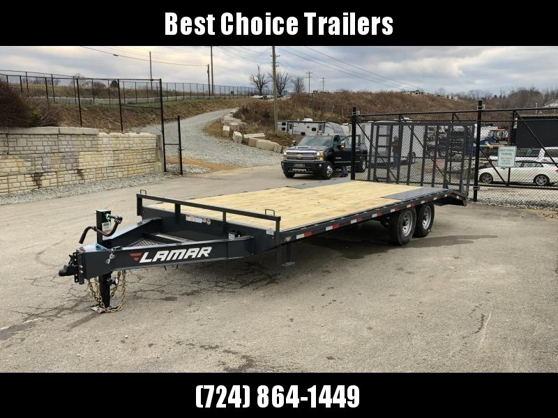 """2020 Lamar 102x22' Beavertail Deckover Trailer 14000# GVW * 5' HD GATE W/ SUPPORT KNEE + SPRING ASSIST  * CHARCOAL * TOOL TRAY * HD COUPLER * I-BEAM FRAME * 16"""" O.C. C/M * RUBRAIL/STAKE POCKETS/PIPE SPOOLS * CHANNEL SIDE RAIL * 4X8"""" TUBE BUMPER"""