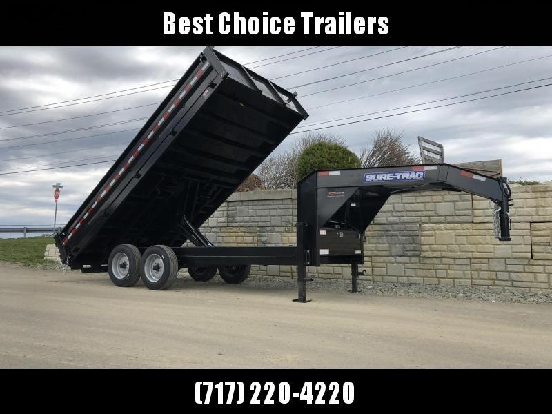 2020 Sure-Trac 8x16' HD Gooseneck Deckover Dump Trailer 16000# GVW * 8000# AXLE UPGRADE * FOLD DOWN SIDES