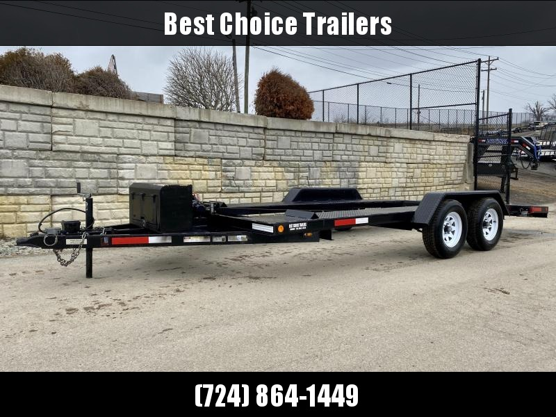 USED 2017 Dively 7x18' Open Deck 7000# GVW Car Hauler * TOOLBOX * WINCH * SLIDE OUT RAMPS *