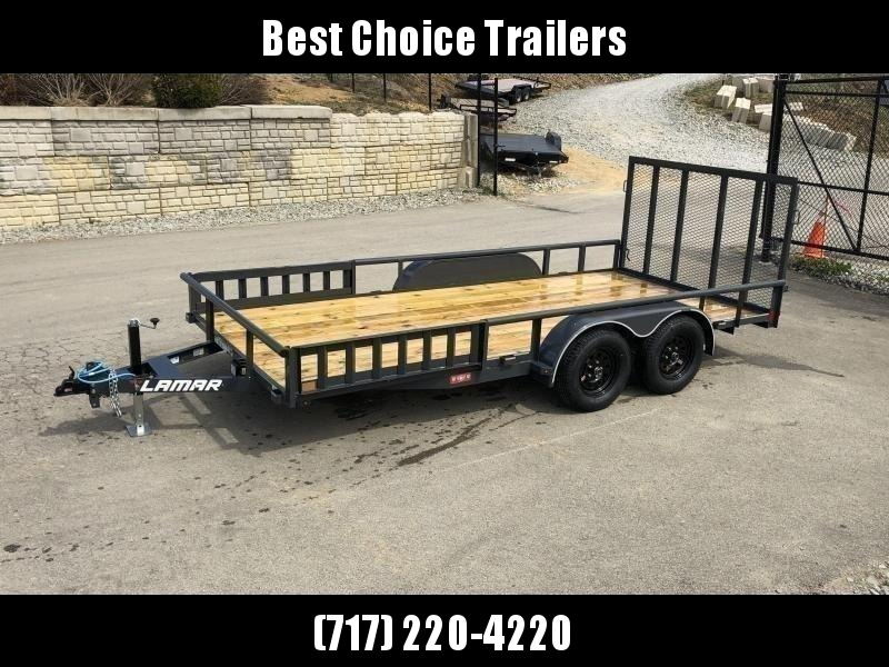 """2020 Lamar 7x18' ATV Utility Trailer 7000# GVW * ATV SIDE RAMPS * CHARCOAL * PIPE TOP RAIL * ADJUSTABLE COUPLER * DROP LEG JACK * 2x2"""" TUBE GATE W/ SPRING ASSIST * COLD WEATHER HARNESS * 4"""" CHANNEL TONGUE * STAKE POCKETS * TEARDROP FENDERS * BULLET LED'S"""