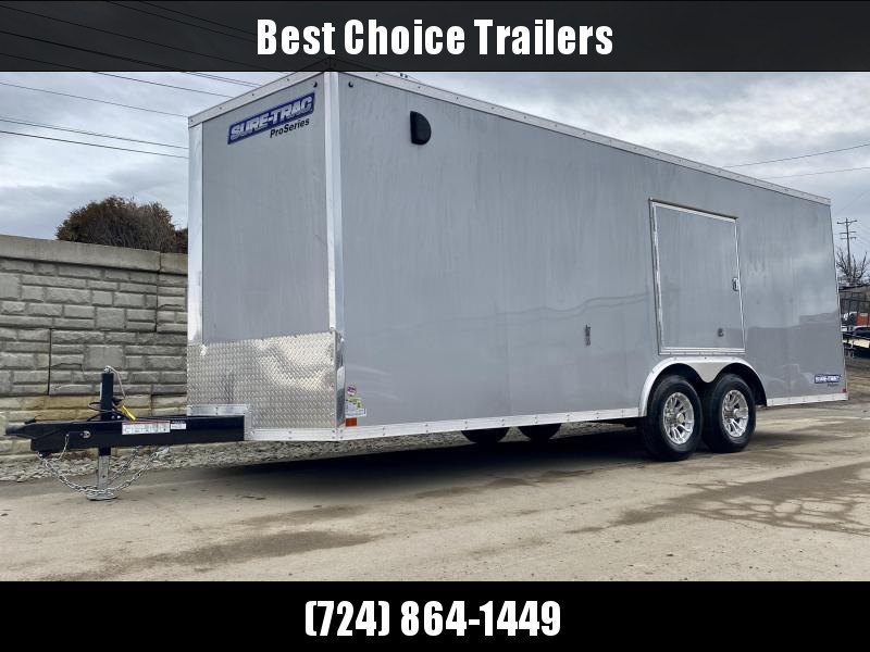 "2020 Sure-Trac 8.5x24' Deluxe Pro Series Enclosed Car Hauler Trailer 9900# GVW * SILVER EXTERIOR * V-NOSE * RAMP * 5200# TORSION AXLES * NUDO FLOOR & RAMP * VINYL WALLS * ESCAPE HATCH * .030 SCREWLESS EXTERIOR * ALUMINUM WHEELS * 1 PC ROOF * 48"" RV DOOR"