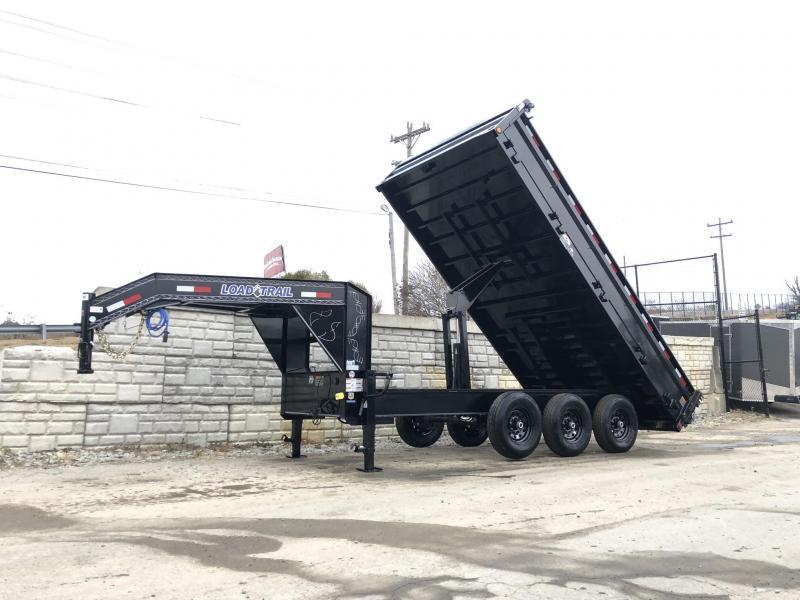 "2019 Load Trail 8x16' Gooseneck Deckover Dump Trailer 21000# GVW * TRIPLE AXLE * DUAL 12K JACKS * FULL TOOLBOX * 10"" I-BEAM FRAME * TARP KIT * SCISSOR HOIST * FOLD DOWN SIDES * 3-WAY GATE * 6"" TUBE BED FRAME * 10GA SIDES/FLOOR * CLEARANCE"