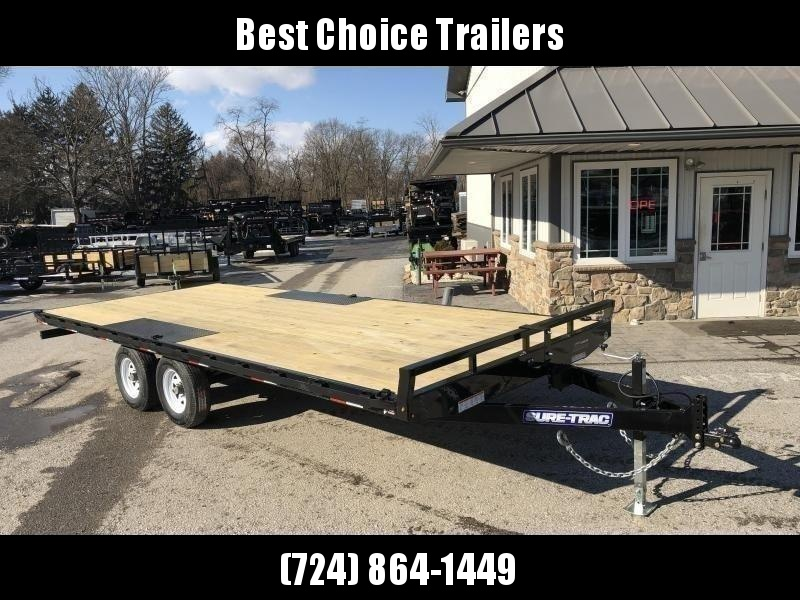 2020 Sure-Trac 102x20 Flatbed Deckover Trailer 9900# GVW * 8' SLIDE IN PUNCH PLATE RAMPS * TUBE SIDE RAIL + CROSSMEMBERS * RUBRAIL/STAKE POCKETS/D-RINGS * SPARE MOUNT * ADJUSTABLE COUPLER * DROP LEG JACK