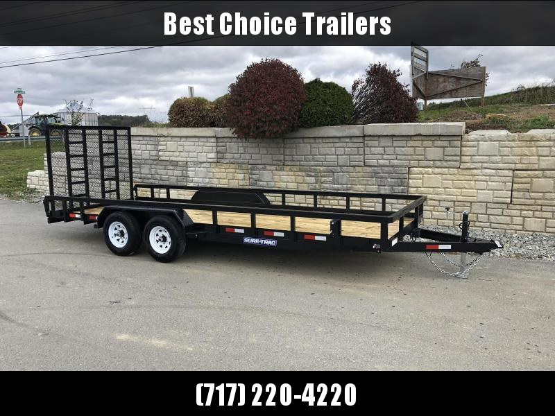 """2020 Sure-Trac 7x18 Tube Top Utility Landscape Trailer 9900# GVW * 5' GATE * PROFESSIONAL LANDSCAPE SERIES * HD REINFORCED GATE+SPRING ASSIST * 5"""" TONGUE & FRAME * 7K JACK * 2X3"""" TUBE TOP RAIL * SPARE MOUNT * PROTECTED WIRING * TRIPLE TONGUE * STAKE POCKE"""