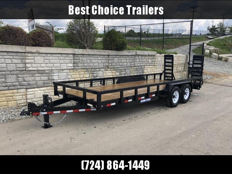 """2019 Sure-Trac 7x20' HD Equipment Trailer 14000# GVW * HD UTILITY SIDES * 3X3"""" TUBE TOP RAIL * 12K JACK * 4"""" CHANNEL DELUXE RAMPS W/ MESH FACE * SPRING ASSISTED * PROTECTED WIRING * CLEARANCE"""