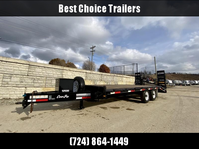 USED 2009 CornPro 102x16+5' Beavertail Deckover Equipment Trailer * 14000# GVW * STAND UP RAMPS * TOOLBOX * SPARE TIRE *  PINTLE *