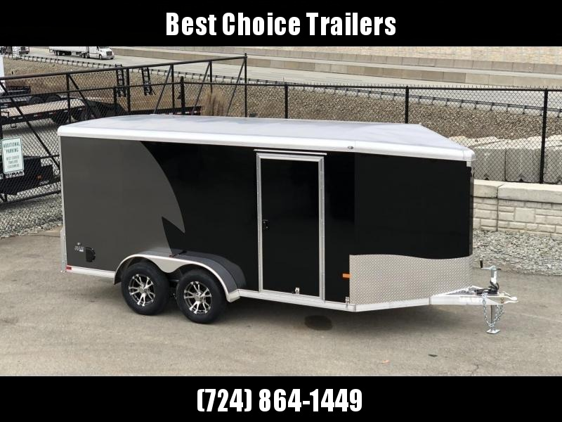 "2020 NEO 7x14' NAMR Aluminum Enclosed Motorcycle Trailer 7000# GVW * BLACK/CHARCOAL 2-TONE * VINYL WALLS * ALUMINUM WHEELS * +6"" HEIGHT * REAR STABILIZER JACKS * ROUND TOP * V-NOSE * ALUMINUM L-TRACK * RV DOOR * SCREWLESS * 1 PC ROOF * CLEARANCE"