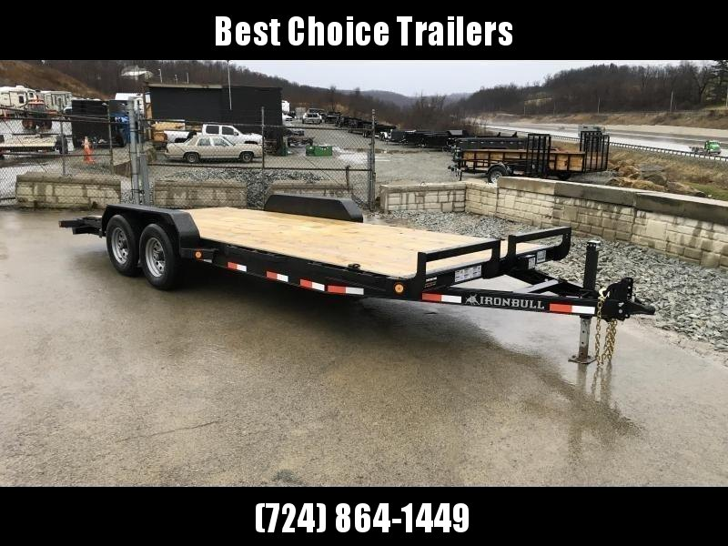 "2019 Ironbull 7x18' Wood Deck Car Hauler Trailer 9990# GVW * OVERWIDTH RAMPS * 16"" O.C. FLOOR * CHANNEL C/M * RUBRAIL/STAKE POCKETS/PIPE SPOOLS/D-RINGS * CLEARANCE - FREE ALUMINUM WHEELS"