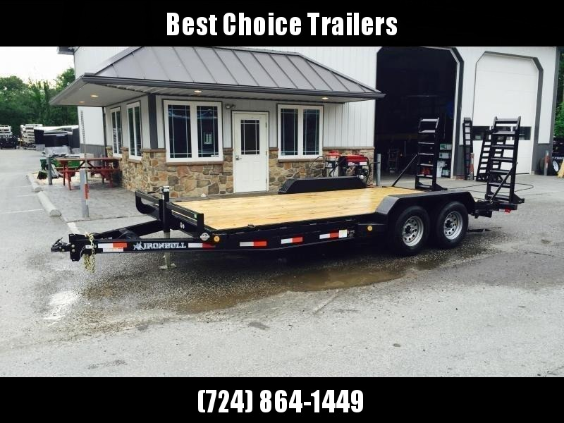 """2019 Ironbull 7x16' Equipment Trailer 9990# GVW * KNIFEEDGE RAMP W/ ADJUSTABLE SUPPORT * REMOVABLE FENDERS * 16"""" O.C. STRUCTURAL CHANNEL C/M * RUBRAIL/STAKE POCKETS/PIPE SPOOLS/D-RINGS * ADJUSTABLE CAST COUPLER * 7K JACK * DEXTER'S * CLEARANCE"""
