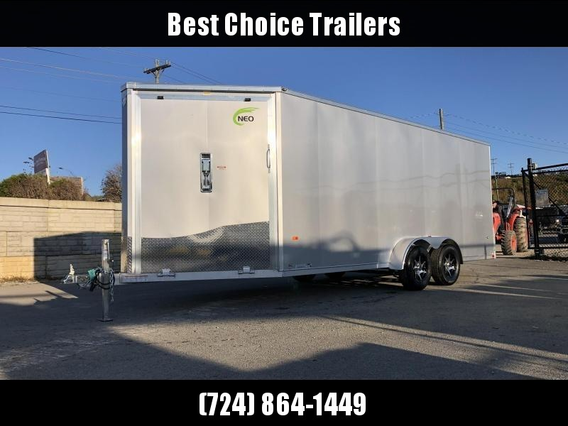 2020 Neo 7x22' Aluminum Enclosed All-Sport Trailer * 7' HEIGHT - UTV PKG * WHITE * FRONT RAMP * LOADED * UTV * ATV * Motorcycle * Snowmobile