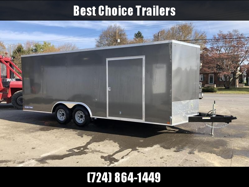 "2020 Sure-Trac 8.5x20' Enclosed Car Hauler Trailer 9900# GVW * WHITE EXTERIOR * V-NOSE * RAMP * 5200# AXLES * .030 SEMI-SCREWLESS EXTERIOR * 16"" O.C. C/M * TUBE STUDS * 48"" RV DOOR * SET BACK JACK * UNDERCOATED * BULLET LED'S"