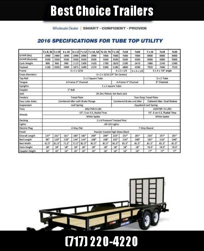 2020 Sure Trac 7x16' Tube Top Utility Landscape Trailer 7000# GVW