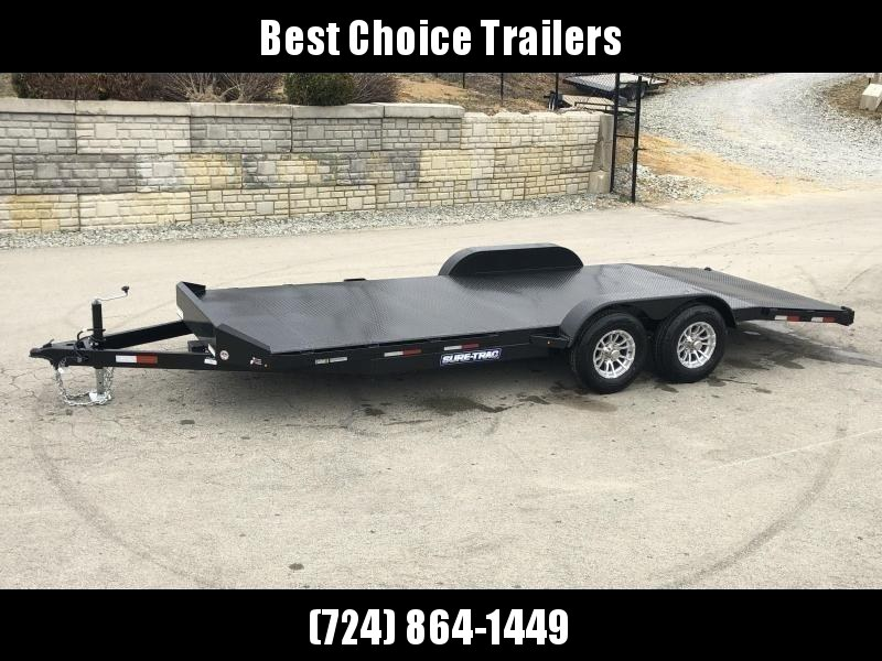"2020 Sure-Trac 7x18' Steel Deck Car Hauler 7000# GVW * 4' BEAVERTAIL * LOW LOAD ANGLE * ALUMINUM WHEELS * 5"" TUBE TONGUE/FRAME * AIR DAM * RUBRAIL/STAKE POCKETS/D-RINGS * REMOVABLE FENDER * FULL SEAMS WELDS * REAR SLIDEOUT PUNCH PLATE RAMPS"