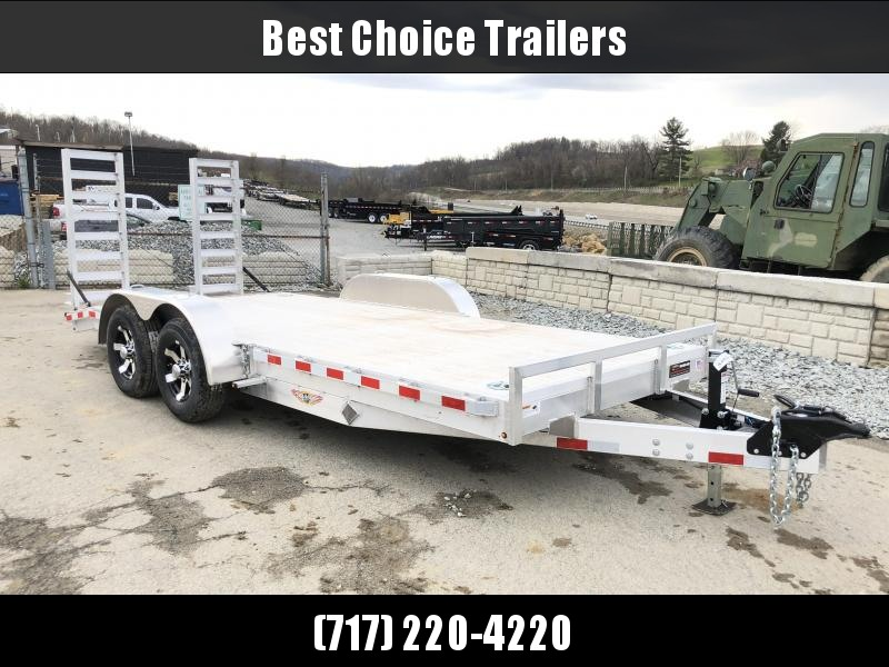 NEW H&H 7x18 Aluminum Equipment Trailer 9990# GVW * EXTRUDED ALUMINUM FLOOR * TORSION * SWIVEL D-RINGS * EXTRA STAKE POCKETS * CLEARANCE